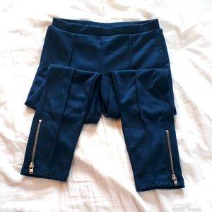 wonder nation Girls Small Navy Blue Ankle Zip Pant